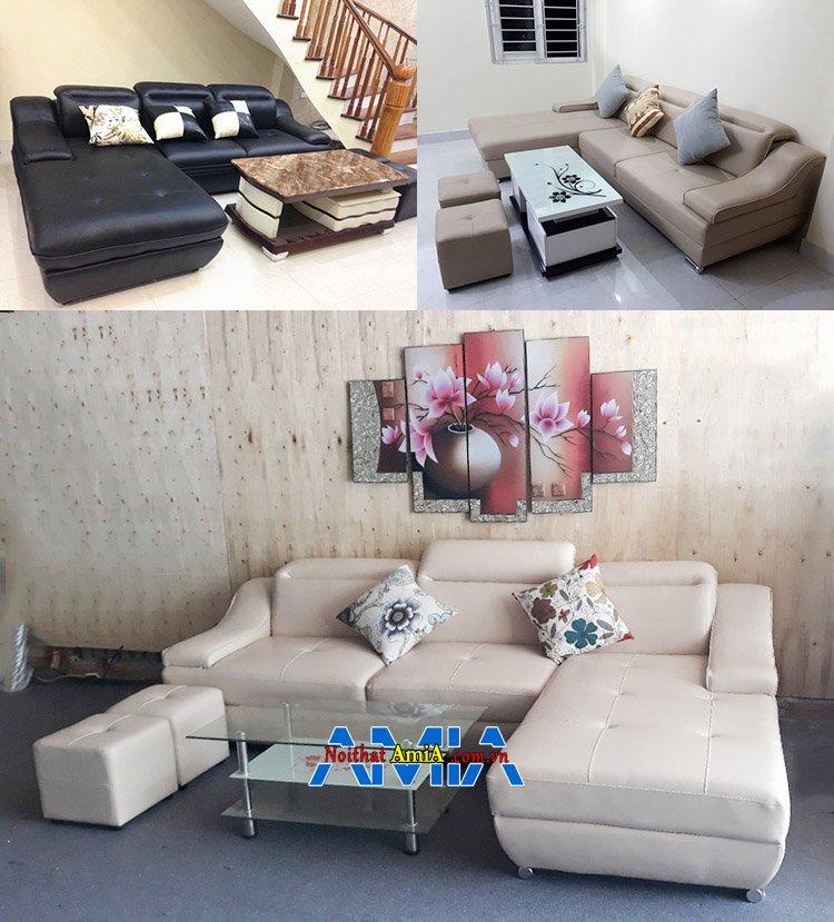 Hình ảnh Các mẫu ghế sofa da đẹp phòng khách AmiA SFD097 chụp tại nhà khách hàng và kho sofa