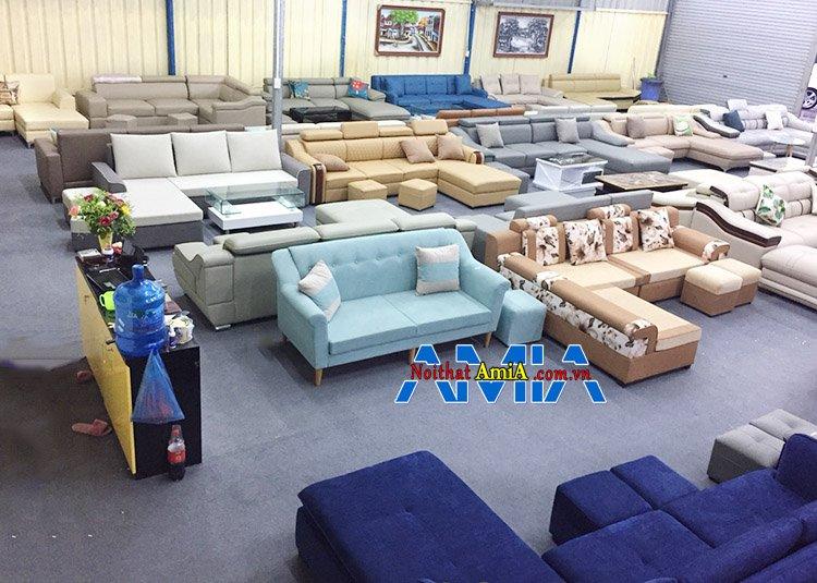 Hình ảnh Các mẫu sofa góc chữ L đẹp hiện đại có sẵn tại kho sofa AmiA