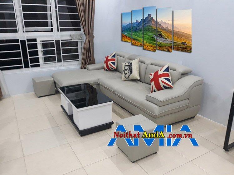 Mẫu ghế sofa cho chung cư hiện đại màu kem sáng đẹp
