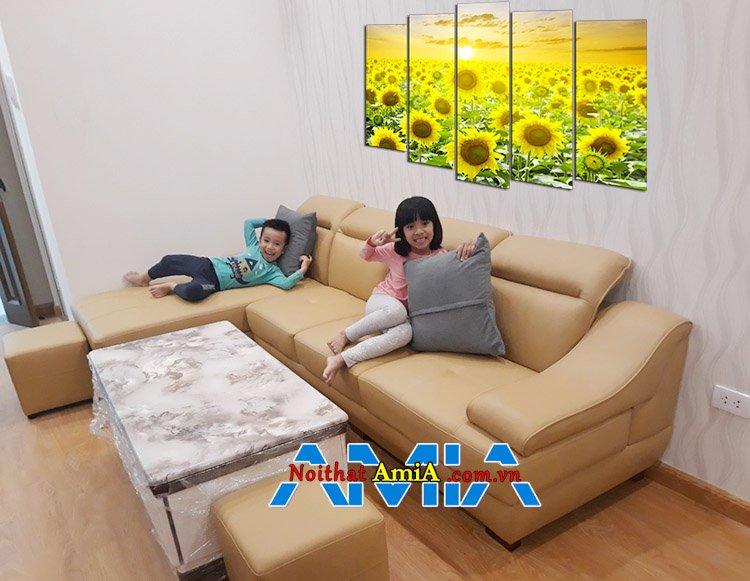 Mẫu ghế sofa cho chung cư màu nâu đất SFD097