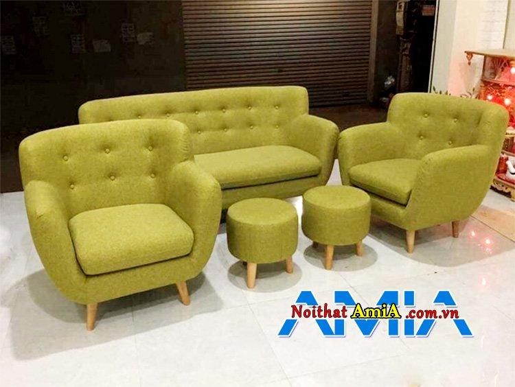 Hình ảnh Bộ ghế sofa nỉ giá rẻ màu cốm đẹp