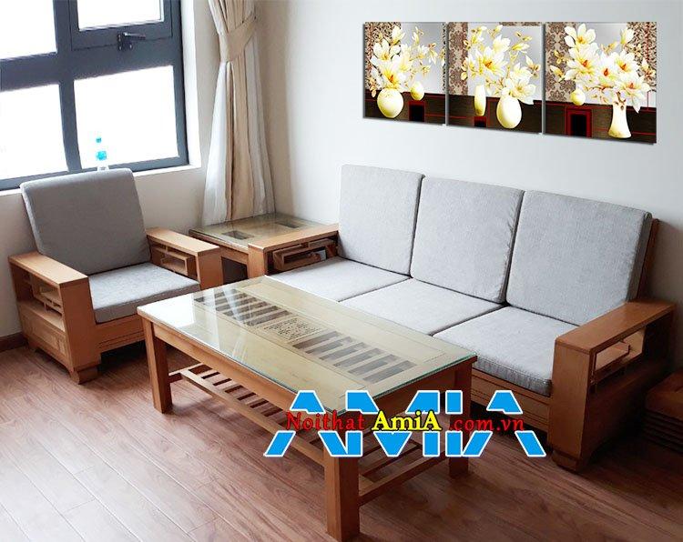 Bàn ghế sofa văng gỗ sồi giá rẻ nhỏ gọn