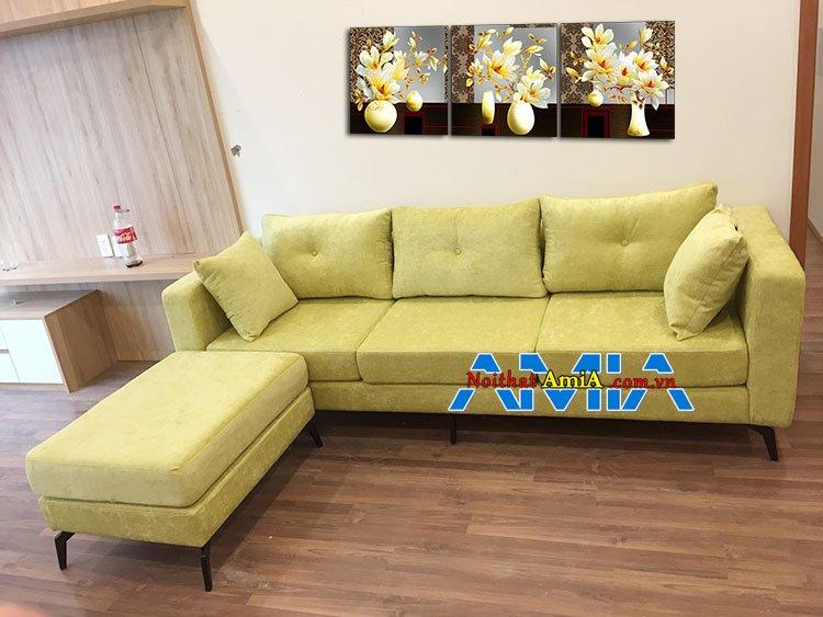 Mẫu ghế sofa văng nỉ dài 2m và đôn to