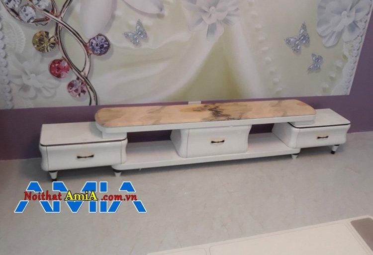 Hình ảnh mẫu kệ tivi phòng khách màu trắng mặt đá đẹp cao cấp