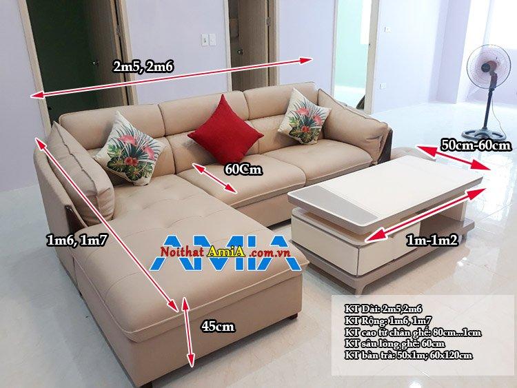 Kích thước sofa chữ L phổ thông hiện nay