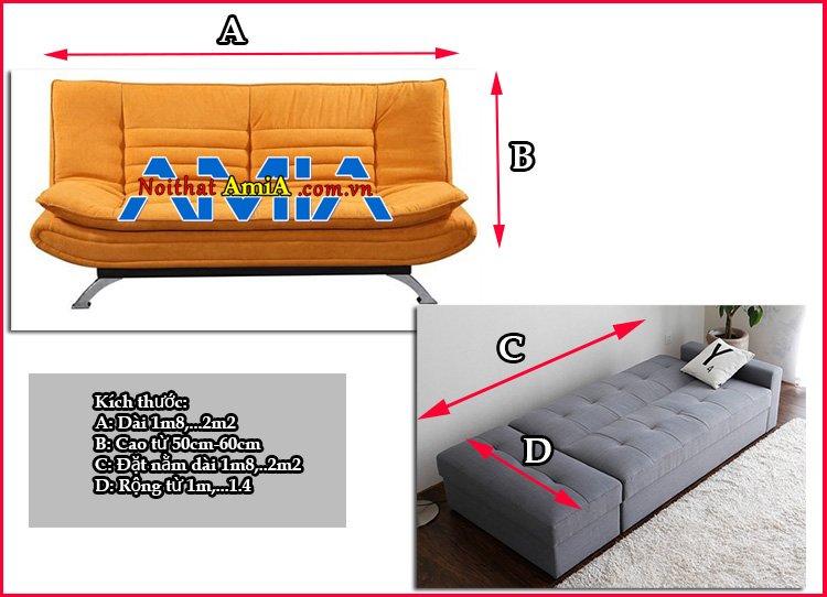 Kích thước sofa giường chuẩn phổ thông hiện nay