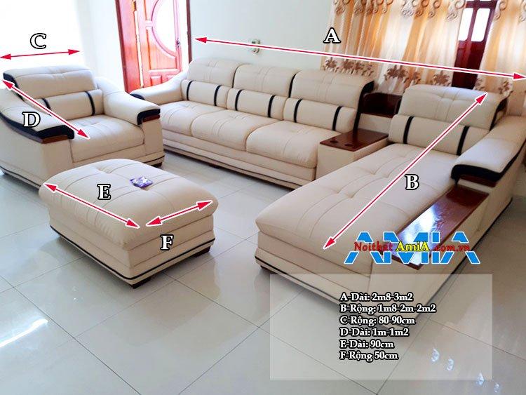 Kích thước sofa góc phòng khách lớn theo tiêu chuẩn
