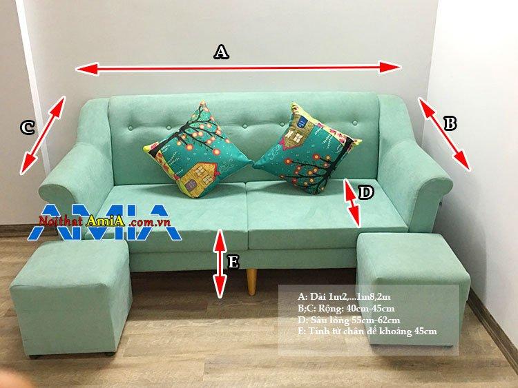 Kích thước sofa văng chuẩn phổ thông hiện nay