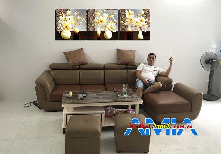 Mẫu bộ bàn ghế sofa cho nhà chung cư và bức tranh đẹp