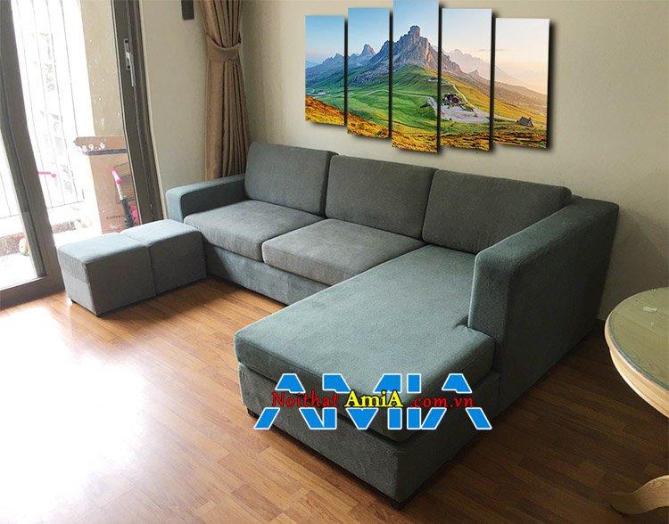 Mẫu ghế sofa nỉ góc L cho phòng khách chung cư đẹp SFN167