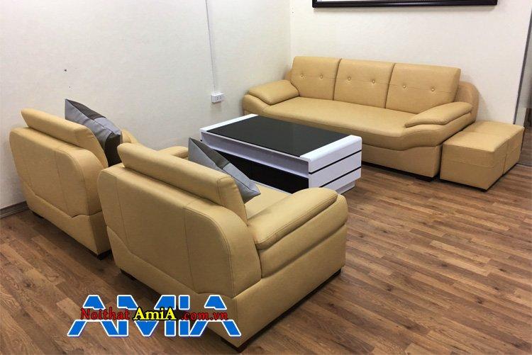Mẫu sofa ghép bộ đẹp tại nhà biệt thự được ghép bộ từ 1 ghế văng 3 chỗ và 2 ghế  chủ