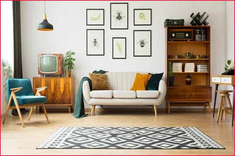 Nội thất sofa văng kết hợp tranh trang trí