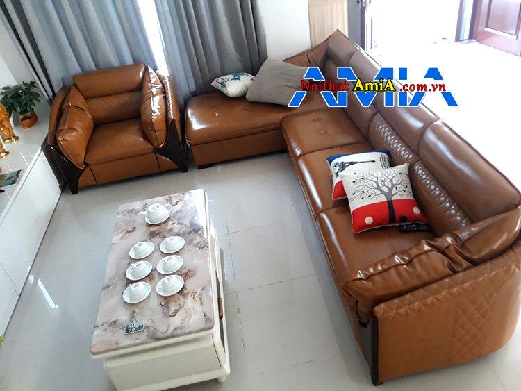 Hình ảnh ghế sofa da phòng khách đẹp kích thước rộng AmiA SFD221