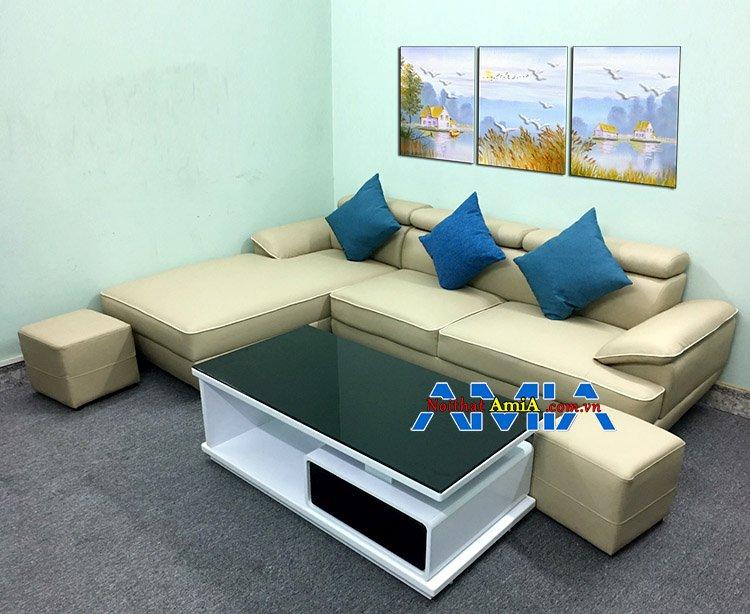 Mẫu bàn ghế sofa góc phòng khách chung cư hiện đại