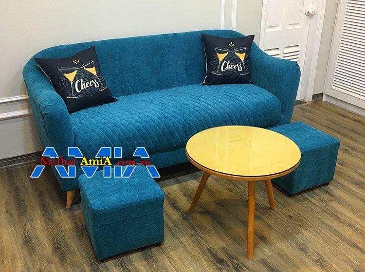 Mẫu ghế sofa nỉ cho phòng khách nhỏ thiết kế hiện đại SFN181 kết hợp chân gỗ cao