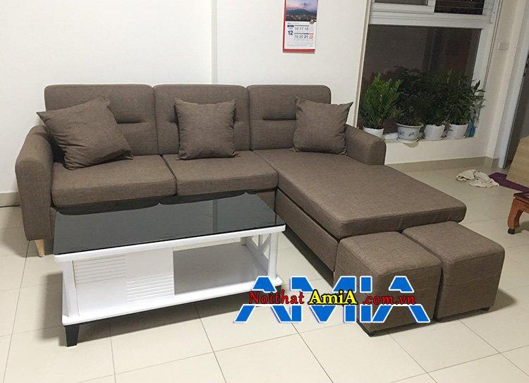 Hình ảnh Mẫu ghế sofa nỉ góc giá rẻ màu xám