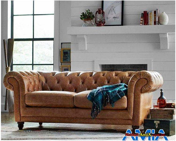 Sofa văng da thiết kế dạng tân cổ điển cho nhà biệt thự sang trọng