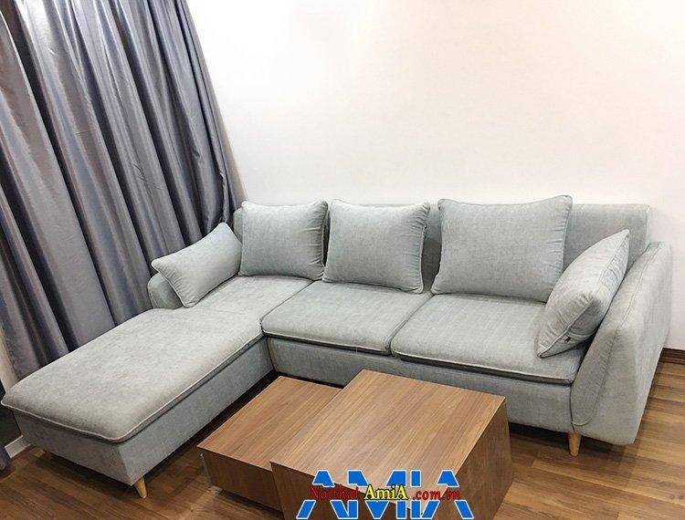 Hình ảnh Bàn ghế sofa nỉ phòng khách thiết kế hình chữ L tiện lợi