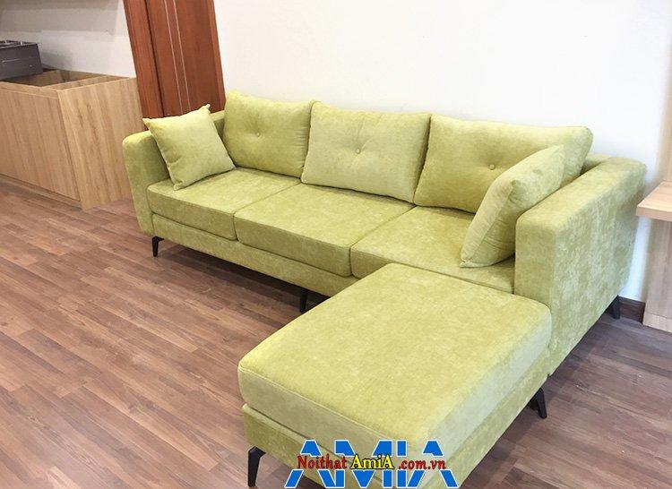 Hình ảnh Sofa nỉ văng phòng khách kèm đôn lớn bài trí tiện lợi