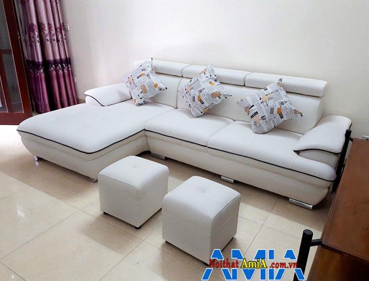 Hình ảnh mẫu ghế sofa phòng khách sử dụng chân Inox thấp
