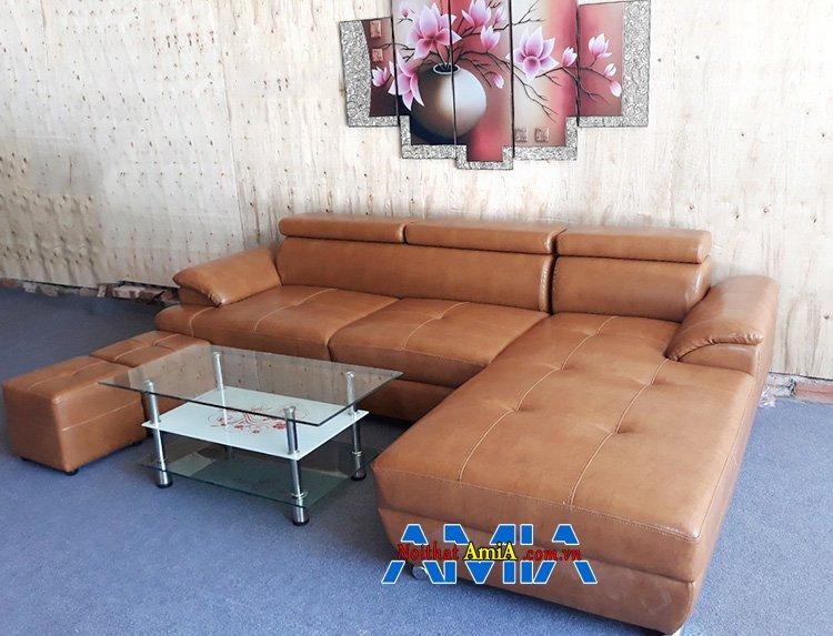 Hình ảnh Sofa phòng khách màu nâu đẹp thiết kế dạng sofa da góc chữ L