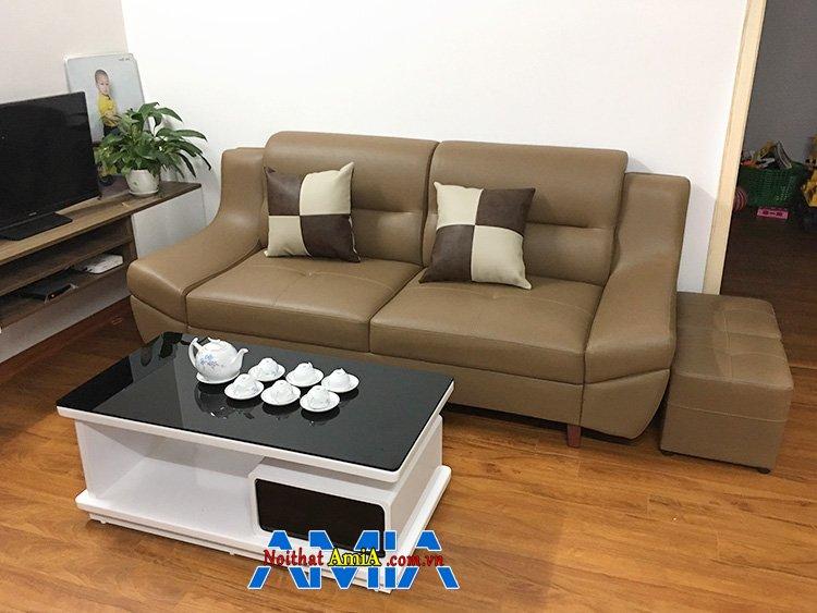 Hình ảnh Sofa văng nhỏ mini cho phòng khách nhỏ bài trí sát tường tiết kiệm diện tích căn phòng