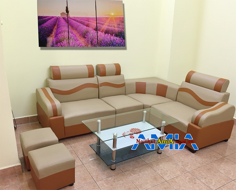 Bộ sofa da góc đẹp giá rẻ màu nâu pha cam