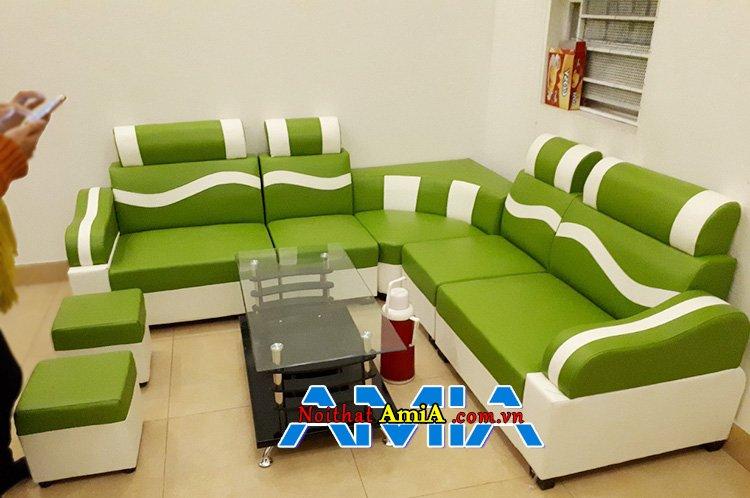 Bộ sofa phòng khách màu xanh nõn chuối