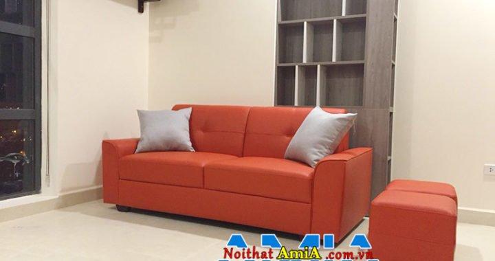Mẫu ghế sofa màu cam kê phòng khách trẻ trung, hiện đại