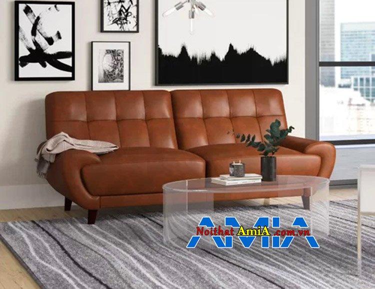 Mẫu ghế sofa văng da đẹp cho nhà chung cư nhỏ gam màu da bò xịn AmiA 227