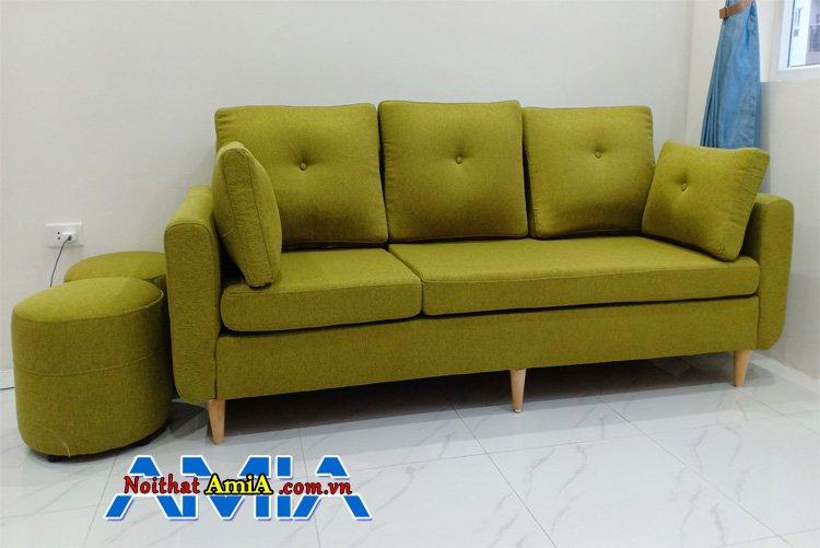 Mẫu sofa văng 3 chỗ màu xanh lá cây cho phòng khách chung cư đẹp