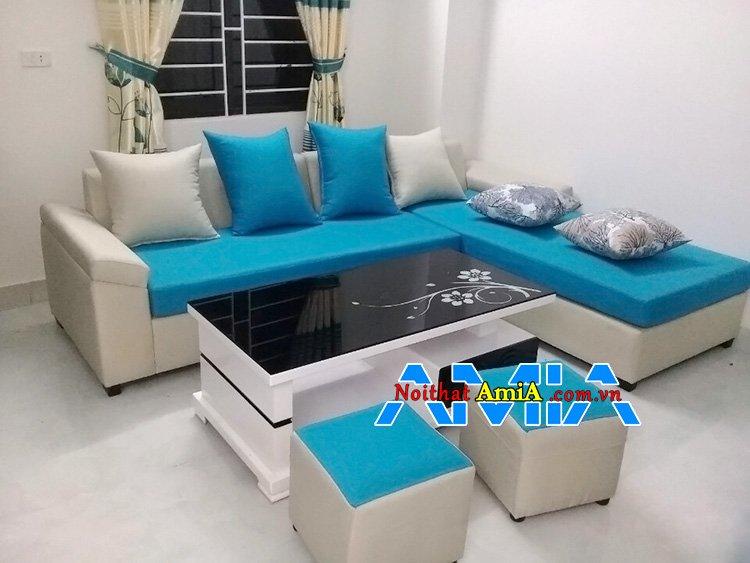 Ghế sofa nỉ chữ L giá rẻ kê phòng khách đẹp hiện đại