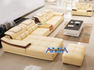 Bộ sofa da cho phòng khách rộng AmiA SFD235