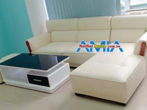 Hình ảnh mẫu ghế sofa da góc L màu trắng 239