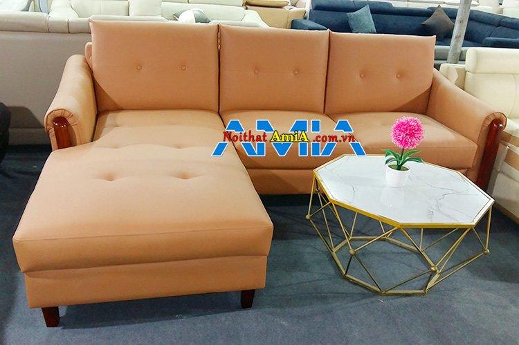 Hình ảnh Mẫu ghế sofa góc da đóng theo yêu cầu tại xưởng