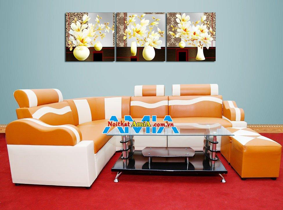 Hình ảnh mẫu sofa góc giá rẻ 2 triệu màu cam đẹp