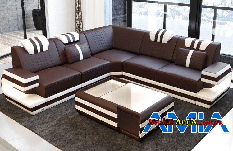 Bộ bàn ghế sofa giả da hiện đại