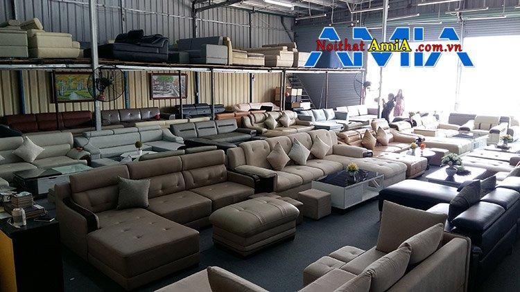 Hình ảnh tổng kho trưng bày ghế sofa nỉ da Hà Nội