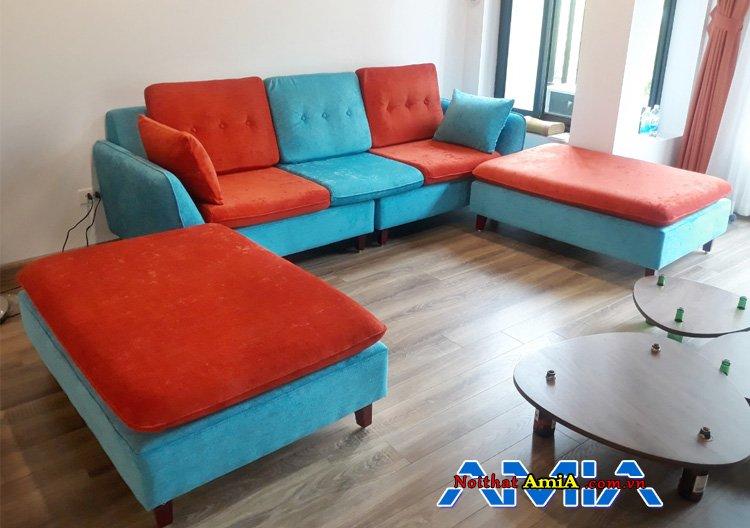 Ghế sofa phòng khách hiện đại màu xanh cam