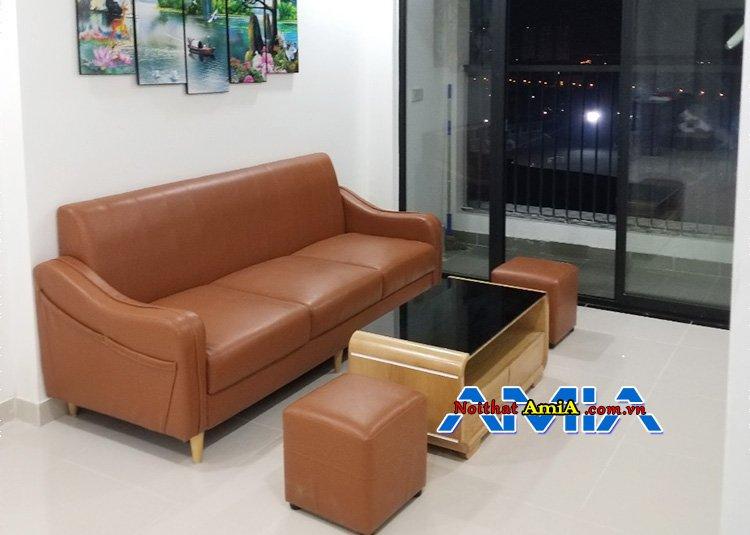 Ghế sofa phòng khách dạng văng màu da bò AmiA SFD217
