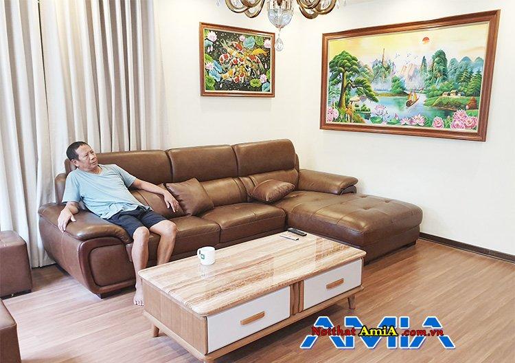 Mẫu ghế sofa da cho phòng khách