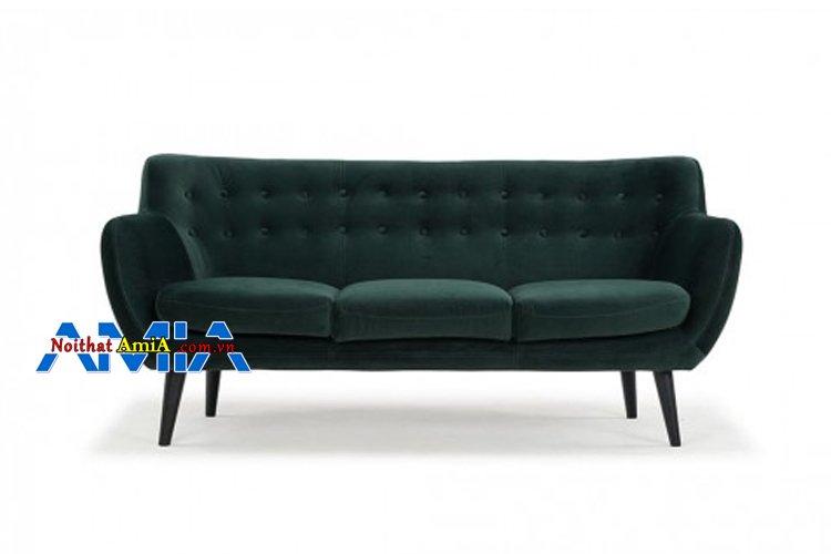 Hình ảnh sofa 3 chỗ xanh rêu đẹp xinh