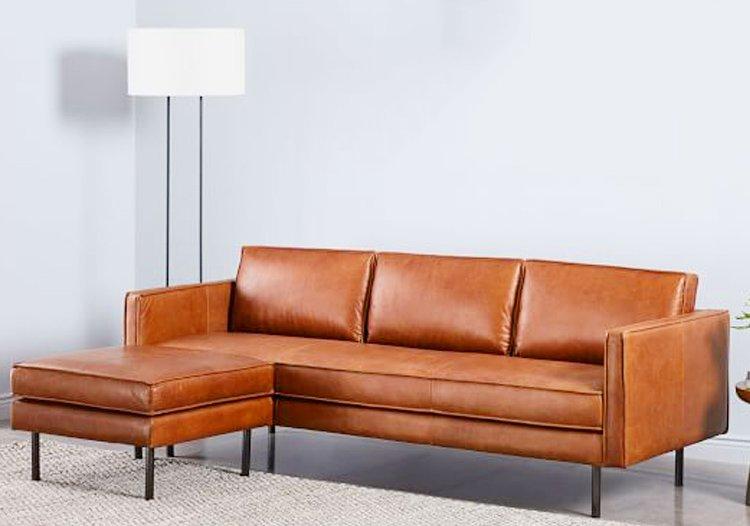 Hình ảnh sofa da bò màu vàng nâu đẹp