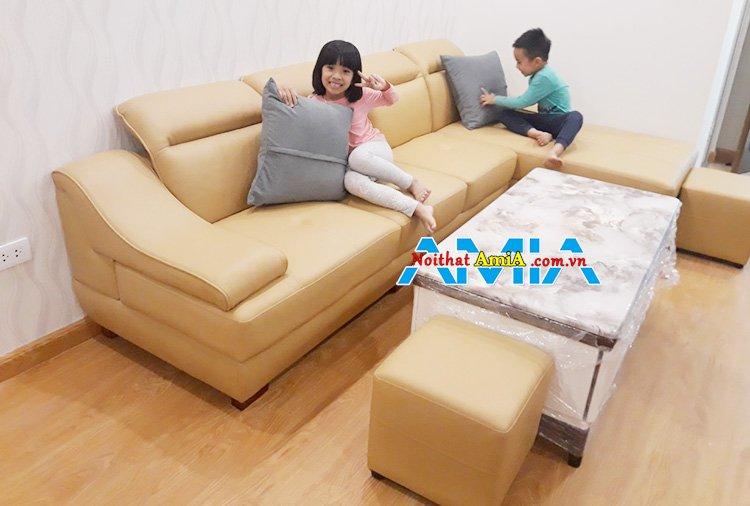 Sofa góc da hiện đại thiết kế thông minh