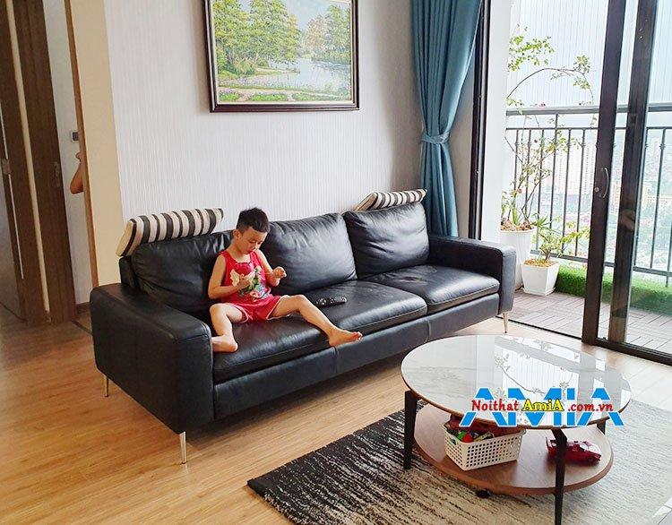 Ghế sofa văng da cho nhà có trẻ con