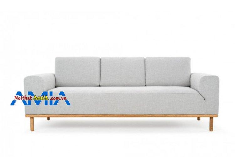 Mẫu sofa văng gỗ 3 chỗ màu xám trắng hiện đại