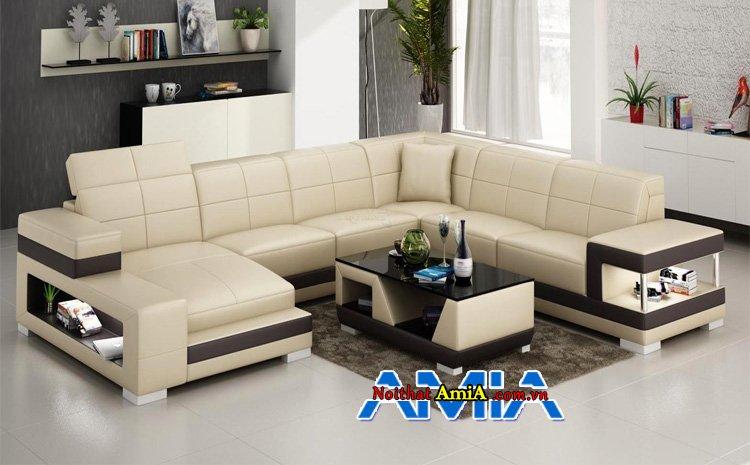 bàn ghế sofa da cho phòng khách biệt thự sang trọng