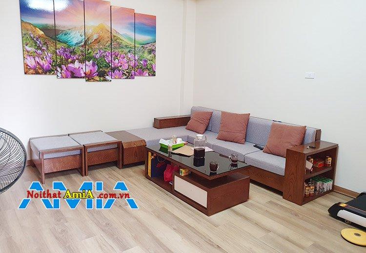 Hình ảnh bộ bàn ghế sofa gỗ chữ L đơn giản mà đẹp