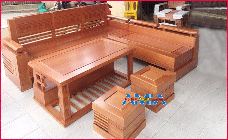 Bộ bàn ghế gỗ sồi phòng khách đẹp hiện đại
