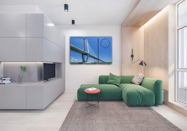 Mẫu nội thất phòng khách chung cư kết hợp tranh 3 tấm